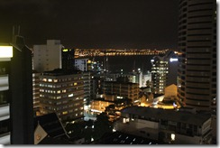 view of harbor from room at night