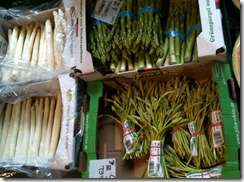 white, green and wild asparagus