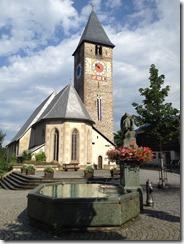 Church in morning with sun