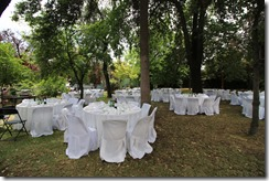 tables on lawn
