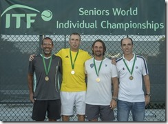 Nov 10, 2017; Miami, FL, USA; Karsten Braasch (GER), Martin Persson (SWE), Marco Filippeschi (ITA) and Carlos Costa Bou (ESP) MS50