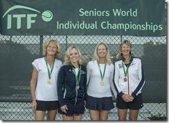 Nov 10, 2017; Miami, FL, USA; Helga Nauck (GER), Vicki V. Buholz (USA), Gayle Prejean (USA) and Christine French (GBR) - WS55