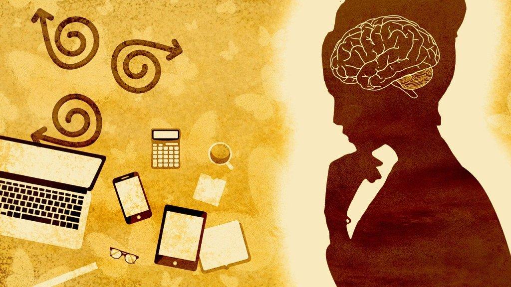 woman brain laptop