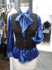 Satin pussybow blouse, tailored vest