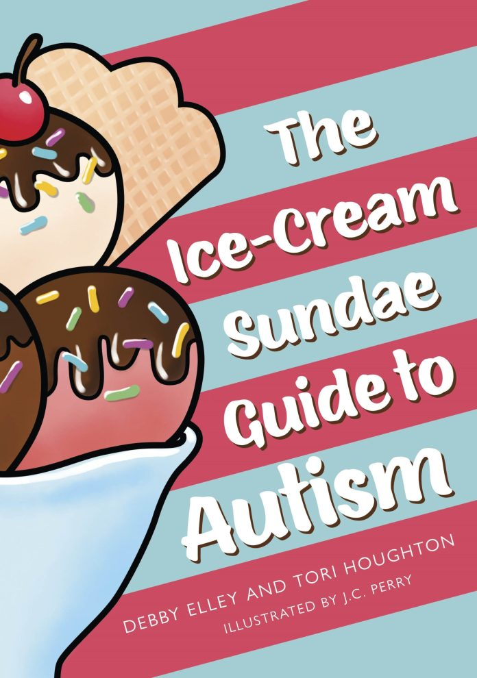 The cover of 'The Ice-Cream Sundae Guide to Autism', with a large sundae on the left and a blue-and-pink striped background