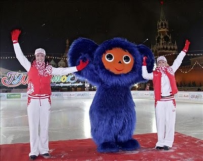 Blue Cheburashka at Olympics