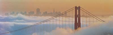 San Francisco Golden gate Bridge Fog Skyline