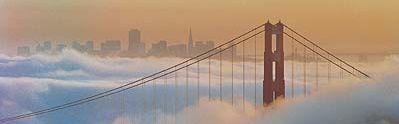 San Francisco Golden gate Bridge Fog Skyline