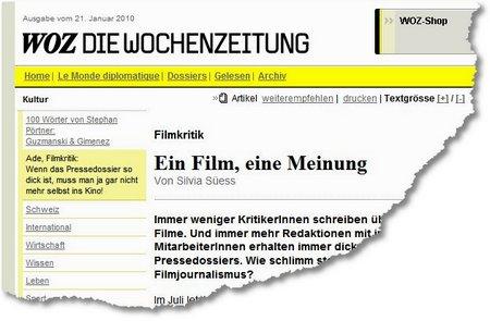 WoZ 100121 Filmjournalismus