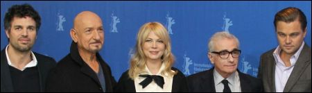 Mark Ruffalo, Sir Ben Kingsley, Michelle Williams, Martin Scorsese, Leonardo DiCaprio: Team 'Shutter Island' PK Berlinale © 2010 Concorde Filmverleih GmbH