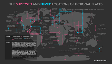 Wondernode Map of Fictional Places