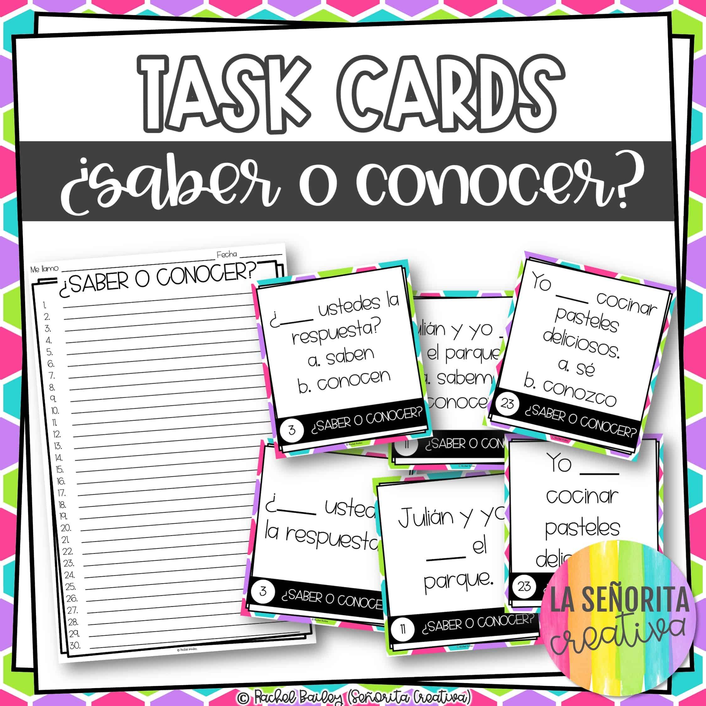 Saber O Conocer Task Card Activity And Worksheet