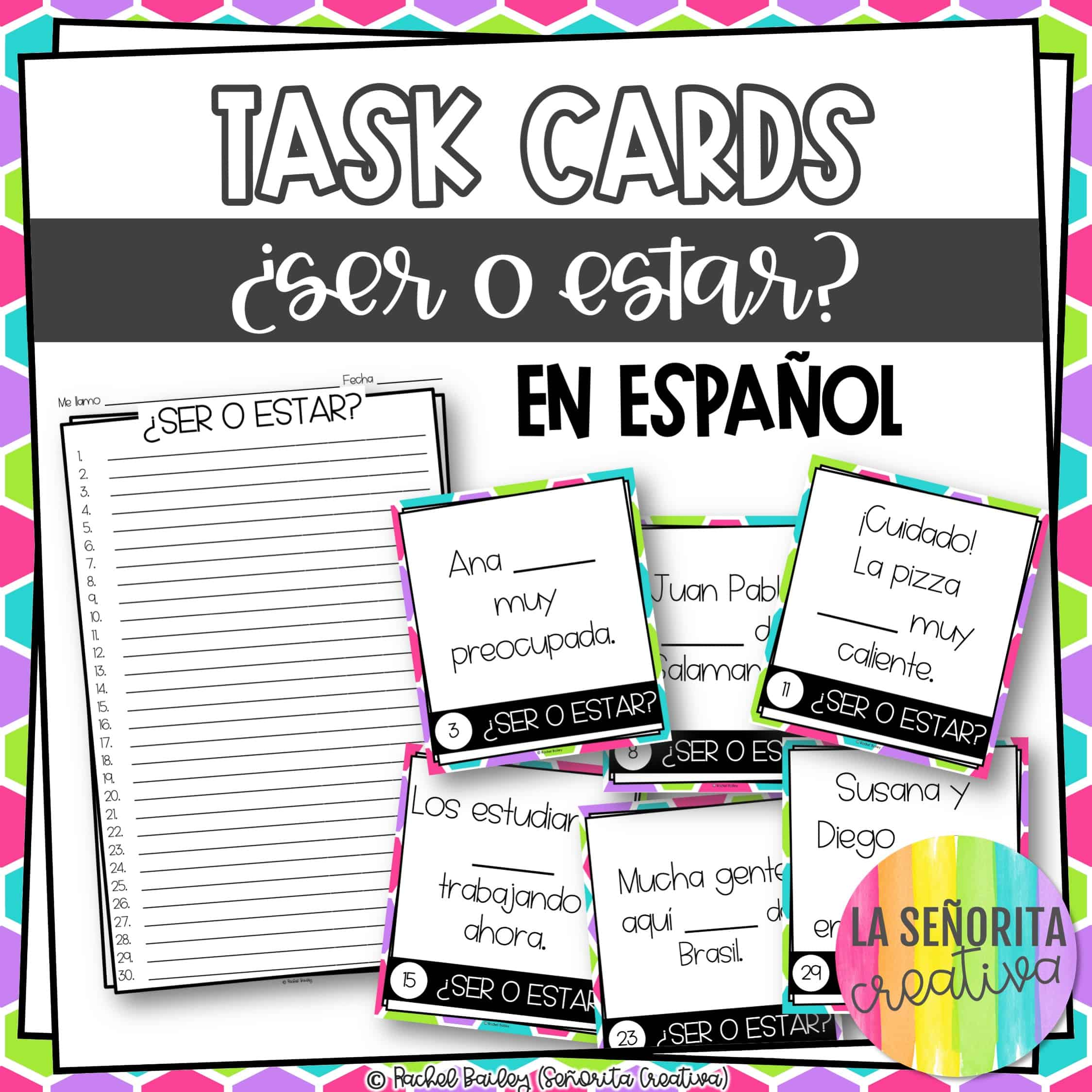 Ser Vs Estar In Spanish Task Card Activity And Worksheet