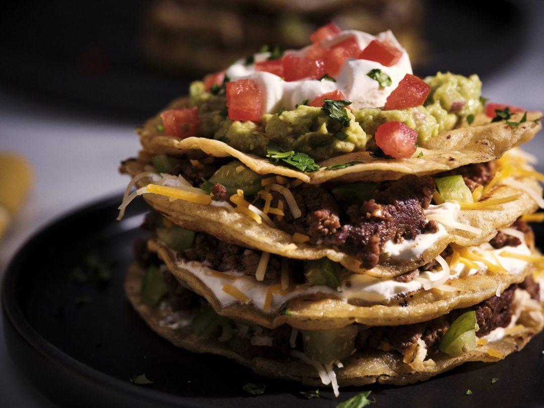 Senor Pepes beff tortilla stack