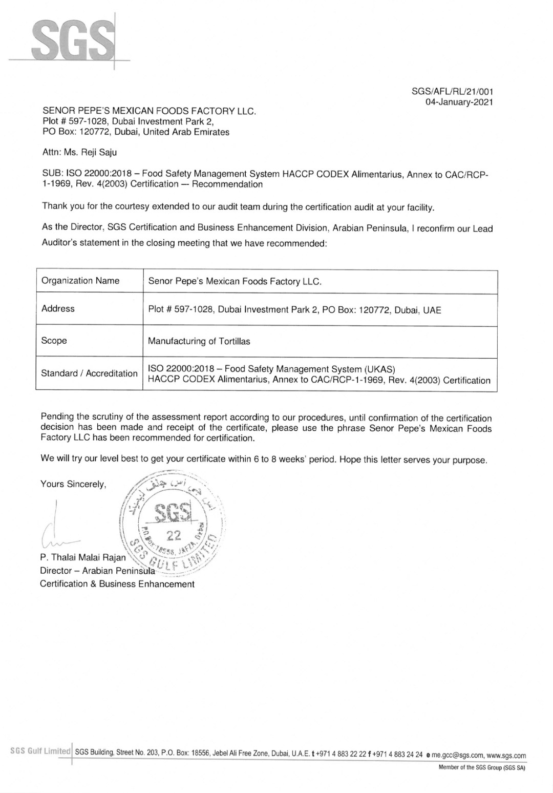 Senor Pepes Certification 4