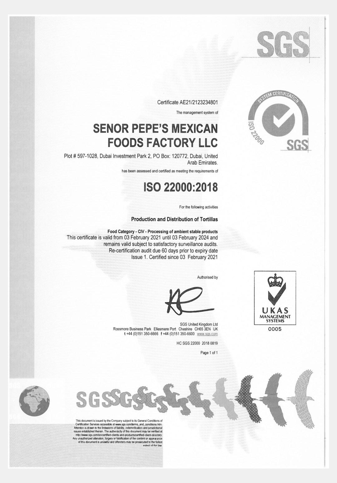 Senor Pepes Certification 5
