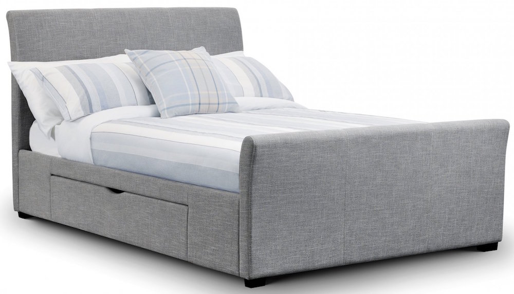 Rome Light Grey Linen Bed Frame with Drawers  Sensation