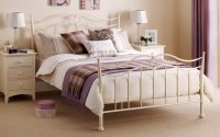 Stone White Ribbon Effect Bed Frame Shabby Chic Metal ...