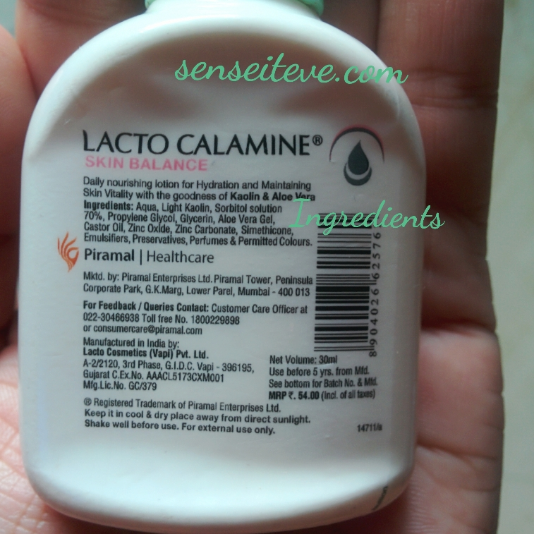 Lacto Calamine Daily Nourishing Lotion_For Normal to Dry skin_Ingredients