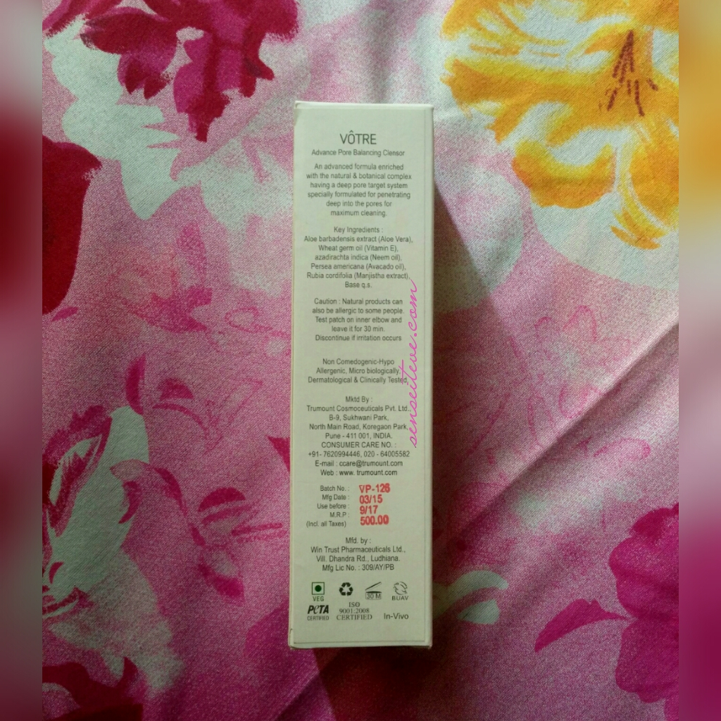 Votre Advance Pore Balancing Cleansor Box Packaging