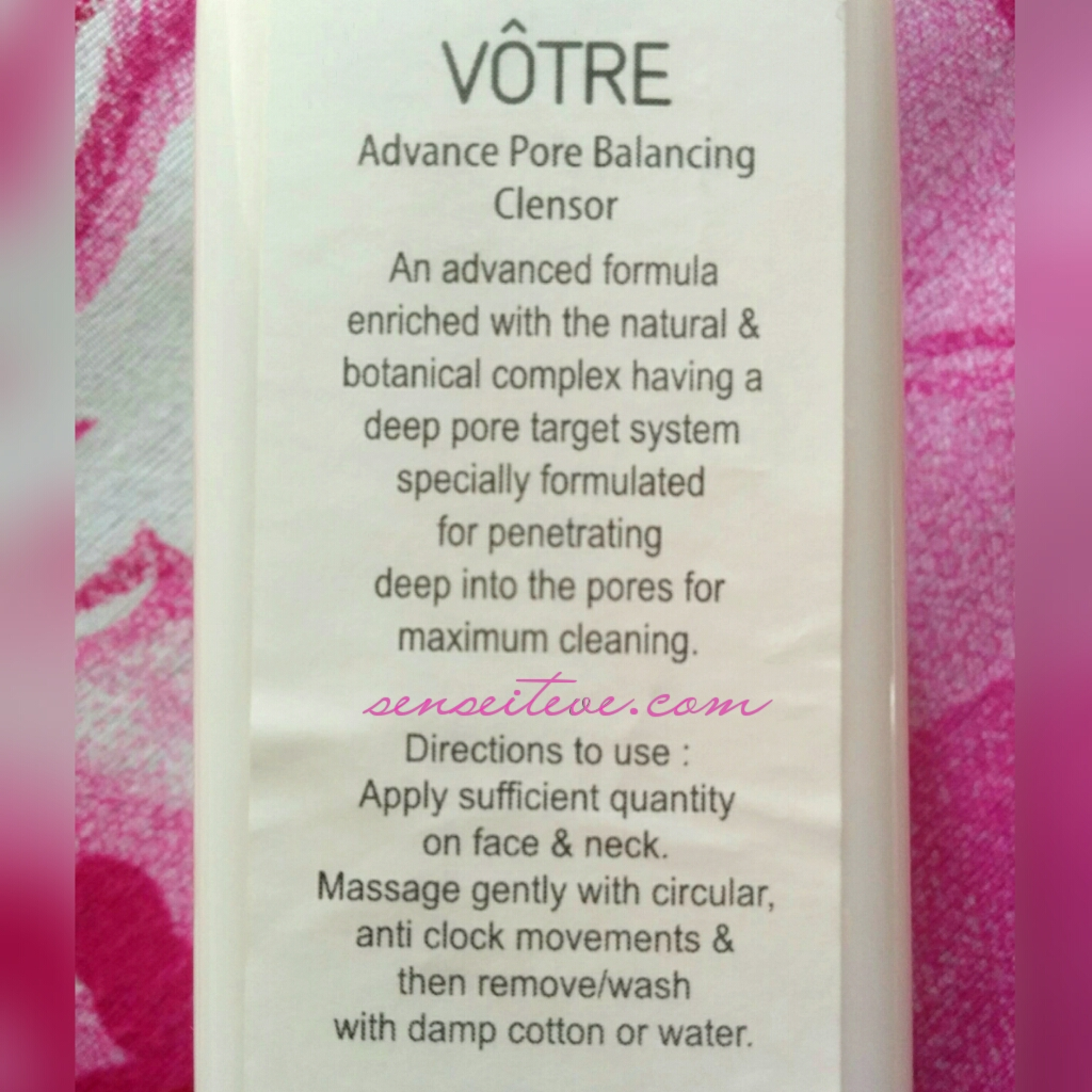 Votre Advance Pore Balancing Cleansor Product Information & Directions to use