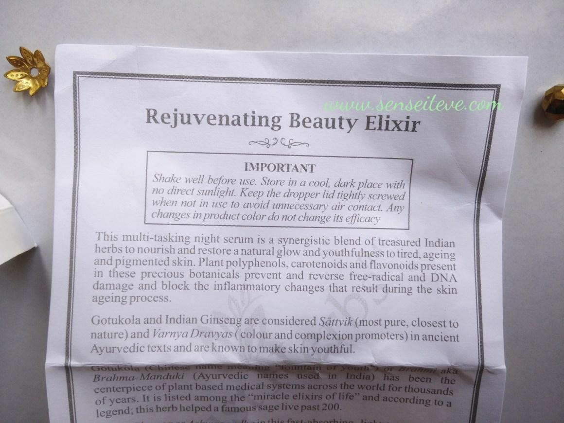 Just Herbs Rejuvenating Beauty Elixir Facial Serum Description