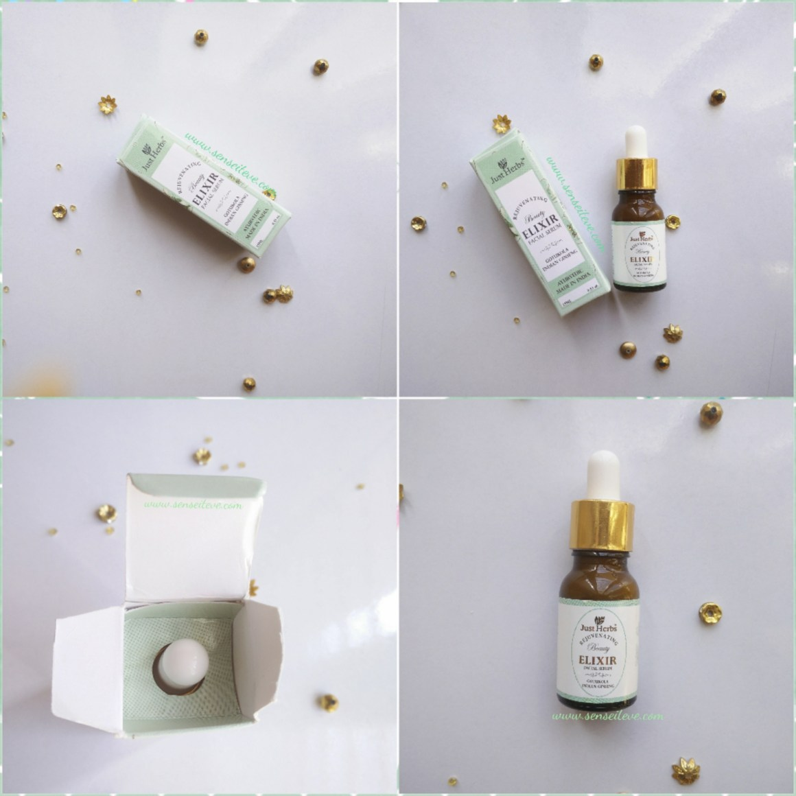 Just Herbs Rejuvenating Beauty Elixir Facial Serum Packaging