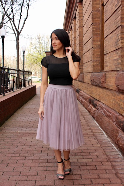 b32d74a357 I topped off the look with a pair of blush suede heels from Charlotte Russe.