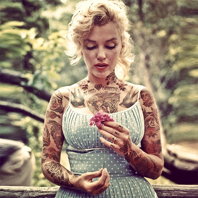 marilyn monroe with tattoos