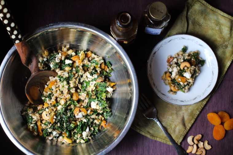 Washington+Barley, Kale, Fruit,  and Chevre Salad with Fig Vinaigrette