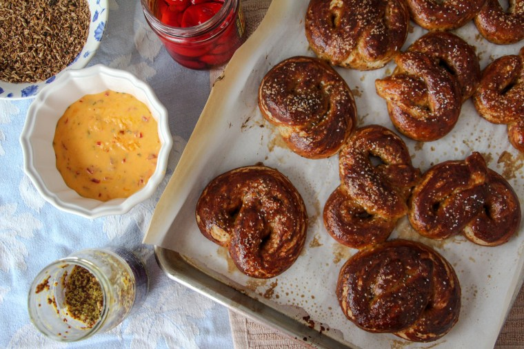Spent Grain Soft Pretzels and Pimento Cheese Fondue