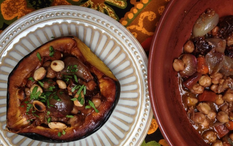 Shallot, Chickpea, Carrot, and Prune Tagine Stuffed Acorn Squash