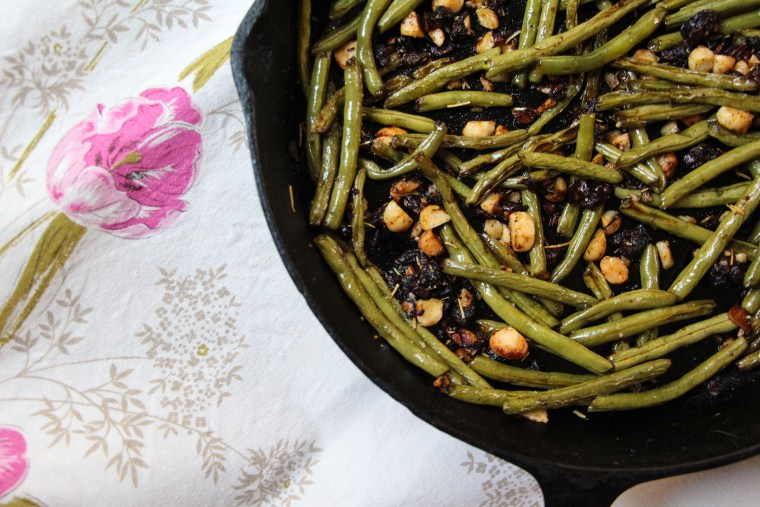 Roasted Green Beans with Dates and Marcona Almonds
