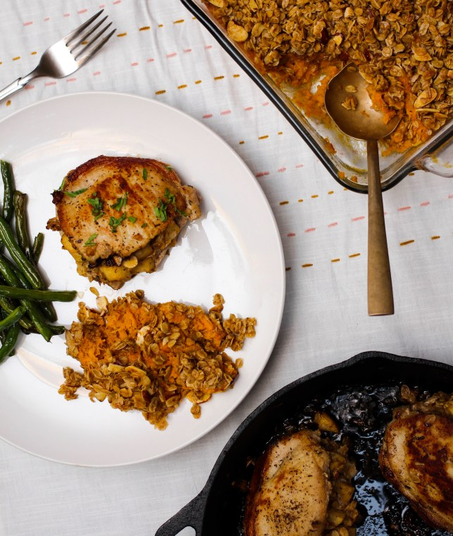 Maple Granola, Apple, and Cheddar Stuffed Pork Chops