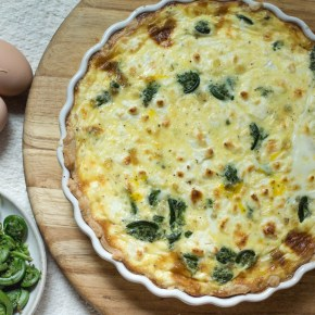 Fiddlehead and Goat Cheese Quiche