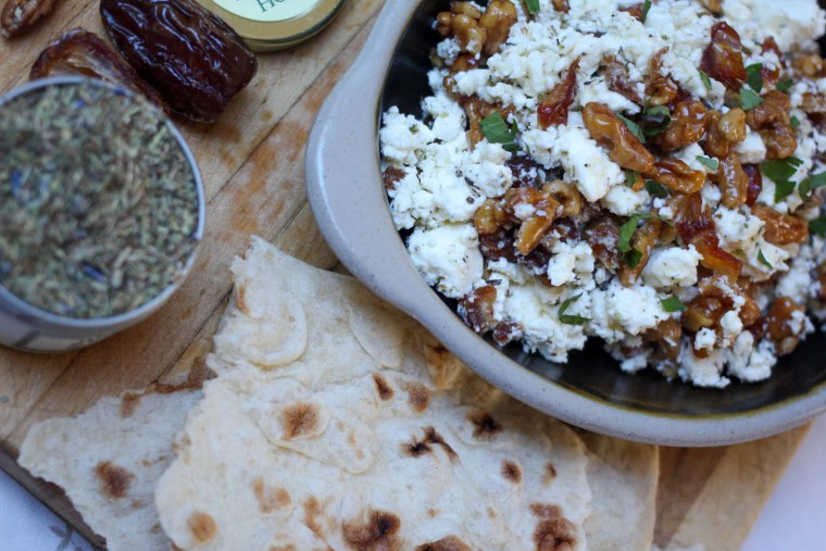 Feta Dip with Dates and Candied Walnuts