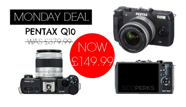 A Collage of the Pentax Q10 Camera With The Text 'Monday Deal Pentax Q10'