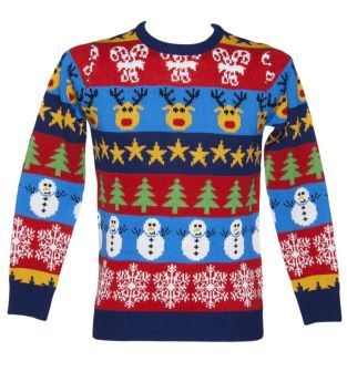 A Photo Of A Tacky Christmas Jumper With Reindeers, Stars And Snowmen