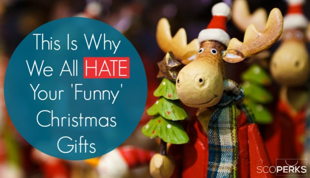 A Reindeer Ornament With A Christmas Tree In It's Hand And The Text 'This Is Why We All HATE Your Funny Christmas Gifts'