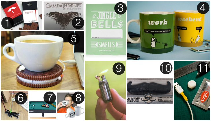 a collage of secret santa gift ideas each numbered from 1 11