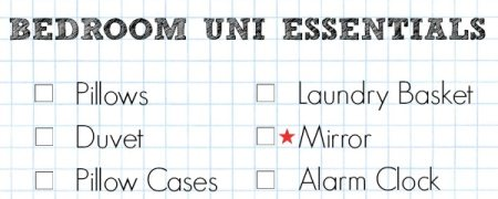 A Cropped Checklist Of Things You'll Need To Take To University For Your Bedroom