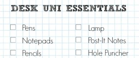 A Cropped Checklist Of Supplies For A Desk At University