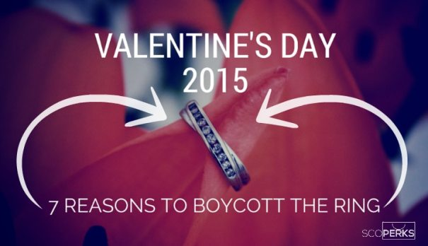 A Ring On A Flower With The Text 'Valentine's Day 2015 7 Reasons To Boycott The Ring'