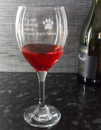 Your Not Drinking Alone if your Dog's Home Engraved Wine Glass Birthday Gift
