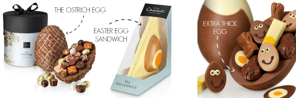 The Ostrich Easter Egg, The Sandwich Easter Egg And An Extra Thick Easter Egg From Hotel Chocolat