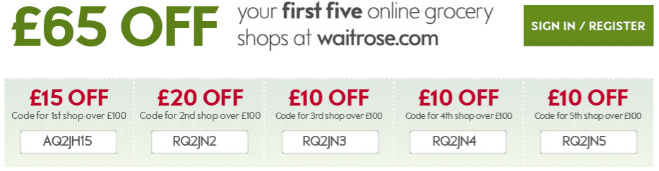 An Image Displaying How Much Money You'll Get Off On Your First 5 Waitrose Orders