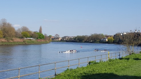 The river eastwards plus rowers