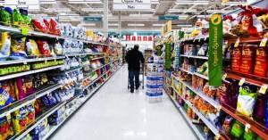 Grocery food shelves