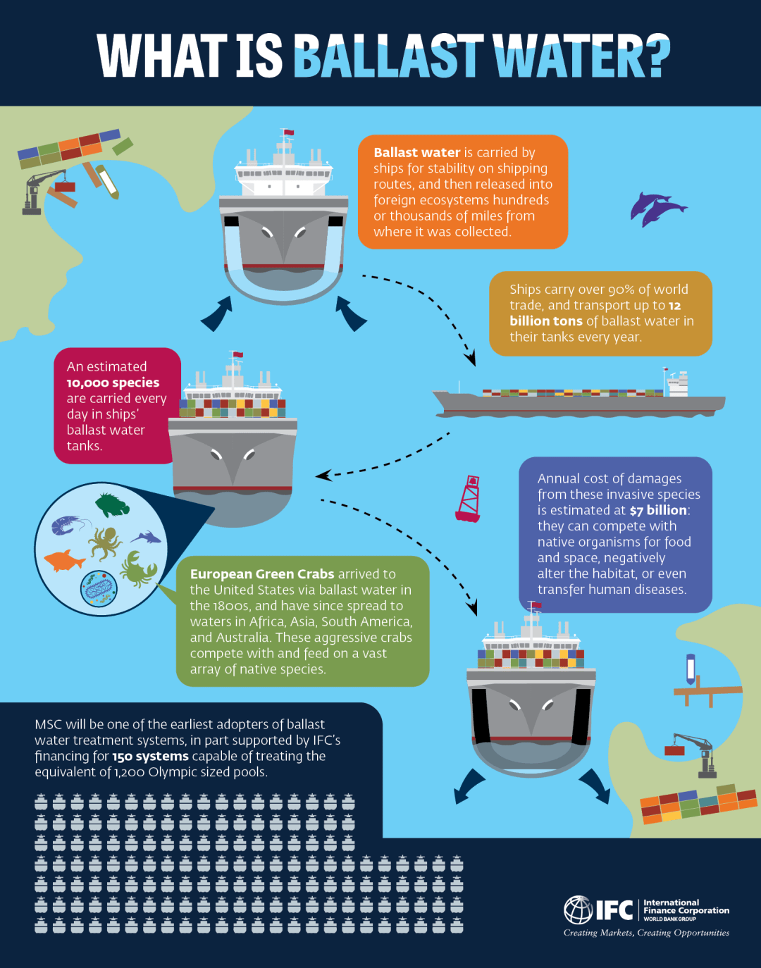 Graphic showing ships and cargo, marine creatures