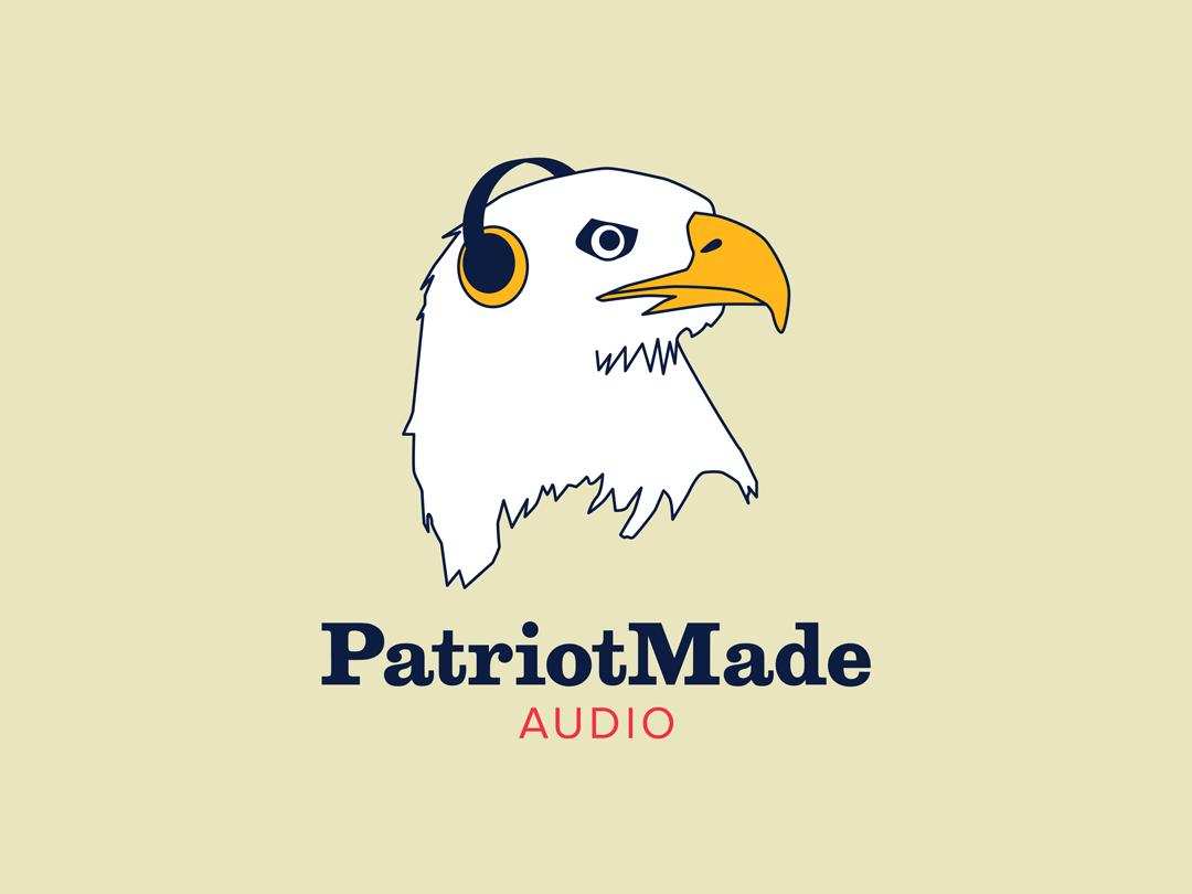 Patriot Made Audio logo (eagle with headphones)